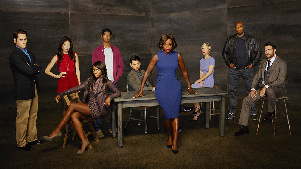 "HOW TO GET AWAY WITH MURDER - ABC's ""How to Get Away with Murder"" stars Matt McGorry as Asher Millstone, Karla Souza as Laurel Castillo, Aja Naomi King as Michaela Pratt, Alfred Enoch as Wes Gibbins, Jack Falahee as Connor Walsh, Academy-Award Nominee Viola Davis as Professor Annalise Keating, Liza Weil as Bonnie Winterbottom, Billy Brown as Nate and Charlie Weber as Frank Delfino. (ABC/Bob D'Amico)"